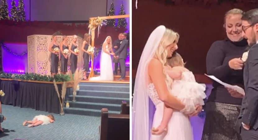 pais se casam com filha no colo apos ela ter crise de ciumes durante cerimonia e video viraliza