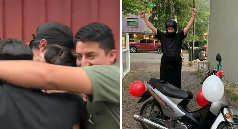 capacolegas de trabalho se unem e compram moto para homem que caminhava 14km para trabalhar