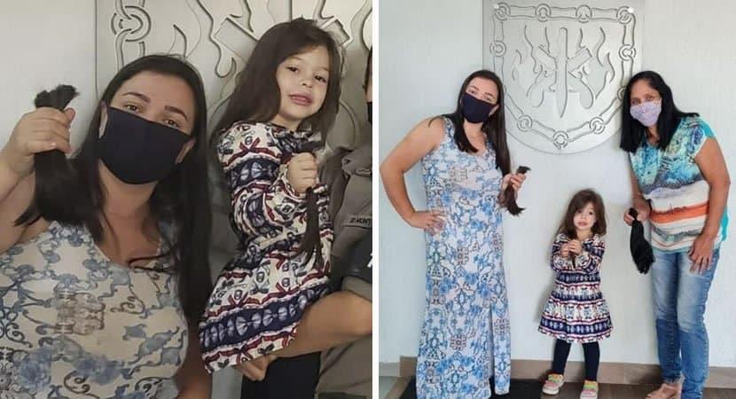 capamenina de 4 anos corta cabelo sozinha e doa a pessoas com cancer 1