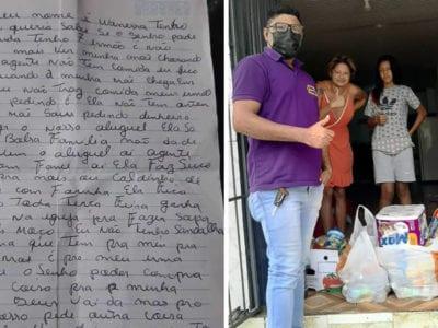 capamenina que escreveu carta dizendo que a familia passava forme ganha comida roupas e moveis