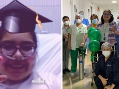 2 capa Apos dois meses intubada por Covid 19 jovem apresenta tese no hospital e consegue diploma