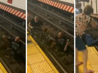 4 capa Dez segundos antes do trem chegar homem se joga nos trilhos e salva cadeirante que havia caido
