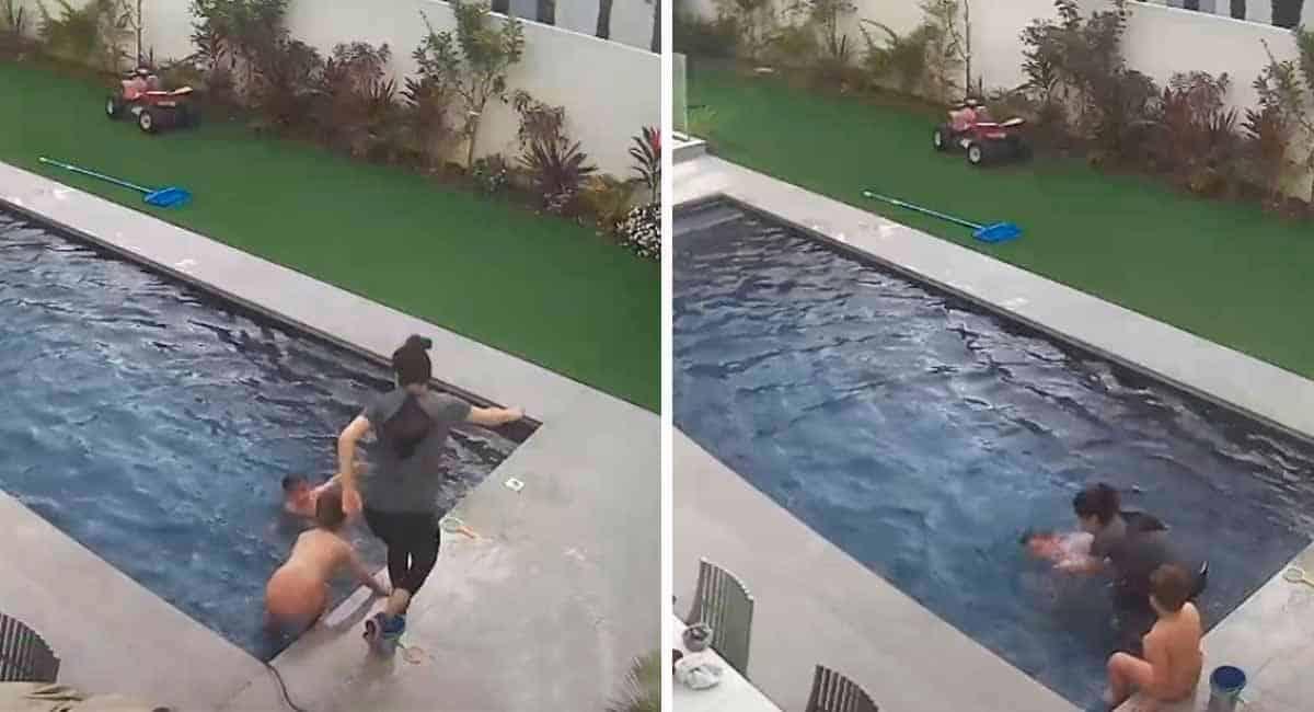 5 Capa Gravida de 9 meses pula em piscina para salvar vida do filho de 3 anos