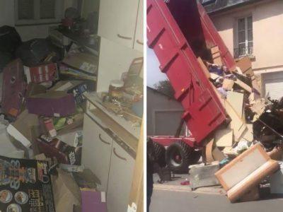 capainquilinos se mudaram e deixaram a casa cheia de lixo Proprietario jogou tudo na frente de seu novo lar