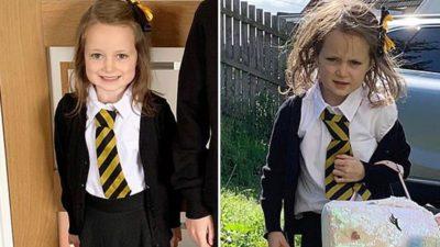 3 capa Mae compartilhou foto da filha antes e depois do primeiro dia de aula e divertiu internautas