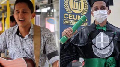 Capa Apos anos cantando em onibus para pagar a faculdade jovem se forma em Medicina e comemora